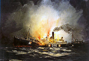 Irish Mercantile Marine during World War II - Ardmore torpedoed, 11 November 1940. All 18 crew were killed. Oil by Kenneth King – National Maritime Museum of Ireland