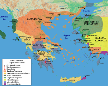 Macedonia, Greece and Asia at the outbreak of the Second Macedonian War, 200 BC Macedonia and the Aegean World c.200.png