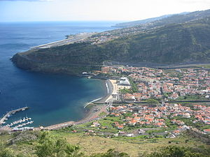 Machico, Madeira - The town of Machico in the shadow of the International Airport in Santa Cruz