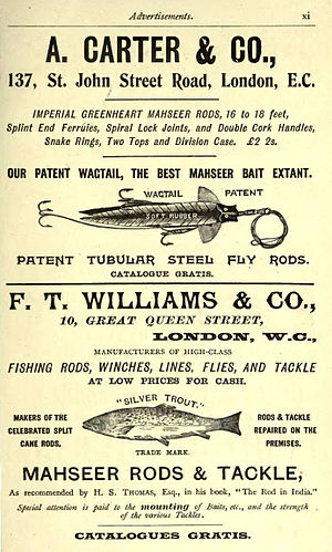Mahseer - Advertisement for Mahseer fishing tackle 1897