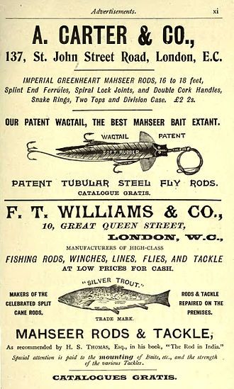Mahseer - Advertisement for Mahseer fishing tackle 1897