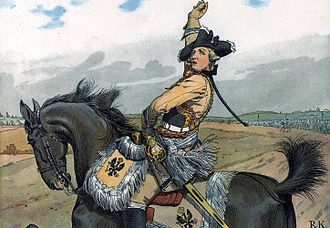 Friedrich Wilhelm von Seydlitz - Image: Major General von Seydlitz pipe Prussian cavalry Battle of Rossbach Richard Knötel