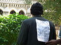 Malayalam wikipedian with a message in wci2011 9332.JPG