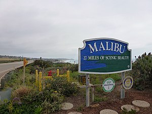 Malibu, California - Sign of historical Malibu coast of 27 miles (43 km) from Point Mugu east to Tuna Canyon