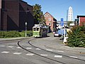 Malmo historic tram leaving depo.JPG