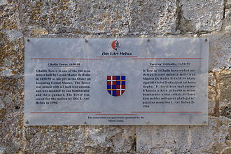 Din l-Art Ħelwa - A Din l-Art Ħelwa plaque at Għallis Tower