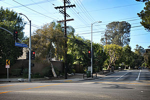 Mandeville Canyon, Los Angeles - Corner of Mandeville Canyon Road and Sunset Boulevard.