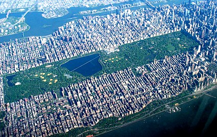 Central Park Is By Far The Largest Interruption Of Commissioners Grid Running From South 59th Street At Right To 110th On