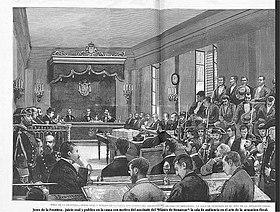 Juicio oral y público celebrado enJerez de la Fronteraen la causa con motivo del asesinato delBlanco de Benaocaz, grabado deJuan CombaparaLa Ilustración Española y Americana, 30 de junio de 1883.