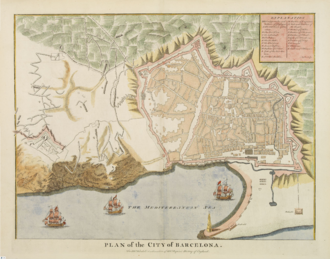 Barcelona Royal Shipyard - Barcelona c. 1700, with the shipyard at the lower left corner of the city