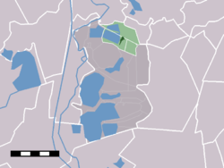 The town centre (darkgreen) and the statistical district (lightgreen) of Ankeveen in the municipality of Wijdemeren.