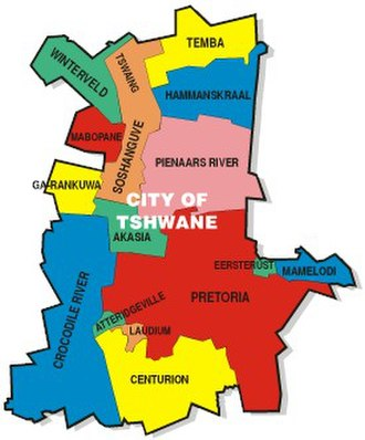 Timeline of Pretoria - Map of Tshwane, showing location of Pretoria, 2006