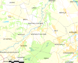 Mapa obce Montaigut-sur-Save