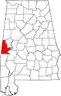 Kart over Alabama med Sumter County uthevet