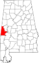 Map of Alabama highlighting Sumter County.svg
