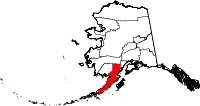 Map of Alaska highlighting Lake and Peninsula Borough