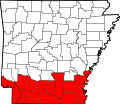 Map of Arkansas highlighting South Arkansas.svg