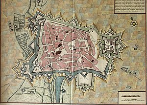 Siege of Cambrai (1677) - Cambrai plan dating from 1710. It shows the inundations in the south and west, and the Selles and Notre-Dame gates