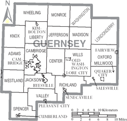 Map of Guernsey County Ohio With Municipal and Township Labels.PNG