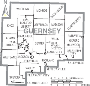 Guernsey County, Ohio - Map of Guernsey County, Ohio With Municipal and Township Labels