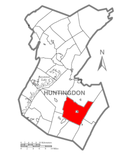 Map of Huntingdon County, Pennsylvania Highlighting Cromwell Township