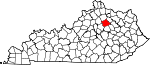 State map highlighting Bourbon County