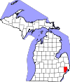 State map highlighting Macomb County