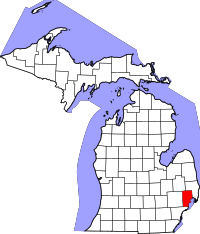 Map of Michigan highlighting Macomb County