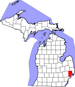 Map of Michigan highlighting Macomb County.svg