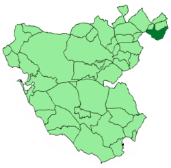 Location of Setenil de las Bodegas within the province of Cádiz