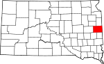 State map highlighting Brookings County