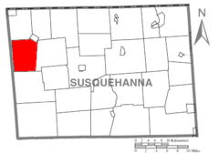 Map of Susquehanna County Pennsylvania highlighting Middletown Township.PNG