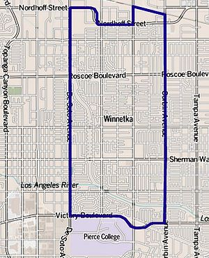 Winnetka, Los Angeles - Image: Map of Winnetka, Los Angeles