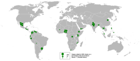 Map of papaya output in 2005.png