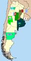 Mapa primera B nacional 2007-8 equipos por provincia argentina.PNG