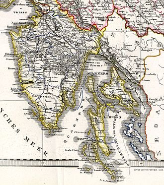 March of Istria - Istrian margraviate (outlined in yellow) by Justus Perthes, 1855