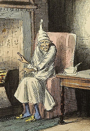 Nightcap (garment) - Ebenezer Scrooge, from Charles Dickens's A Christmas Carol wearing his pajamas and nightcap. Illustration by John Leech.