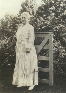 Mary Lee Ware by farm gate