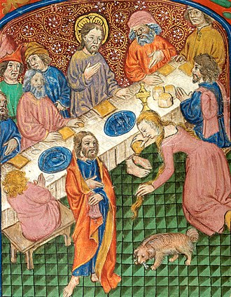 Anointing of Jesus - Mary Magdalen anointing Christ's feet. Illuminated manuscript, c. 1500