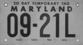 Maryland 1955 temporary license plate.png