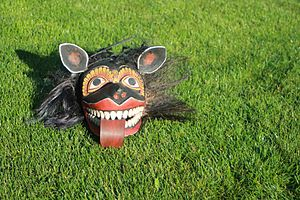 Dances of Sri Lanka - Mask of the demon Maha Sohona used in the Tovil Healing Ritual in Sri Lanka