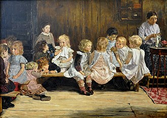 Kindergarten - Kindergarten in Amsterdam 1880, by Max Liebermann