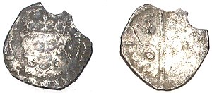 Penny - A worn medieval penny, probably dating from the reigns of Henry VI-VII, AD1413-1461