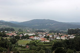 Melgaço, Portugal - The view of the town of Melgaço within the valleys of the Minho River