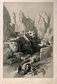 Men sitting to smoke by a ravine at Petra, Jordan. Lithograp Wellcome V0019272.jpg