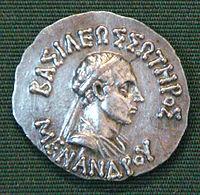 Νόμισμα του Μένανδρου με την μορφή του
