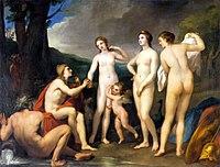 Paris'in kararı, ortada başında tacı ile tanrıça Hera ve arkasında tavuskuşu