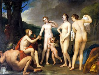 Eris (mythology) - Das Urteil des Paris by Anton Raphael Mengs, c. 1757