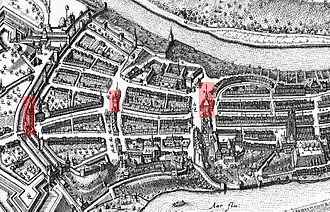 Käfigturm - Map of Bern's three medieval guard towers, from left to right: Christoffelturm (now destroyed), Käfigturm, Zytglogge