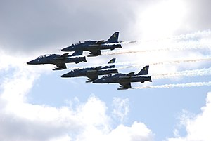 Midnight Hawks - Midnight Hawks (four BAE Hawk jet trainer aircraft) at Helsinki International Airshow 2009
